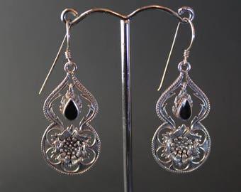 Onyx Floral Sterling Silver Earrings