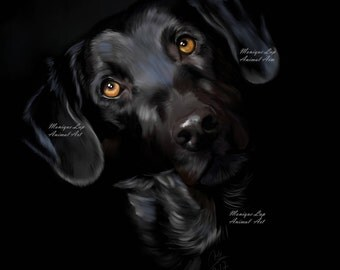 Labrador dog print,Black labrador,pet gift