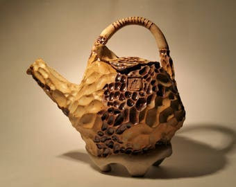 Koi Teapot IV. Wheel Thrown and Hand Carved One of a Kind Stoneware Teapot.