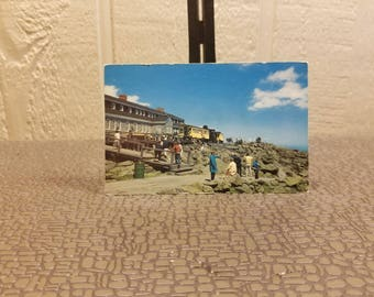 Two Trains of Famous Mt. Washington Cog Railway at Summit House White Mountains New Hampshire Vintage Chrome Color Postcard 1970's