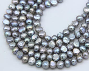 7-8mm Gray Baroque Freshwater Pearl Beads Gray Nugget Cultured Pearl Genuine Baroque Pearl Good Luster Gray Pearl Bracelet Necklace Supplies