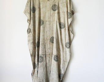 OM Caftan | indian hand block printed, natural, vegetable dye, cotton maxi dress, long, oversized kaftan, loose, boho, bohemian | by Kochab