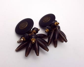 Vintage Clip on 80s Earrings Drop Black and Gold Plastic Beads Primitive New Wave Industrial Modernist Modern Retro Fashion Runway