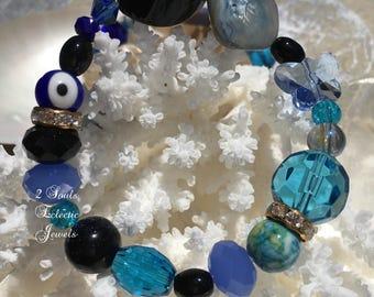 Bohemian Evil Eye Bracelet, Butterfly Beaded Bracelet, Blue Multi Faceted Crystal, Gemstone Jewelry, Black Agate, Gypsy Bracelet, Jewelry