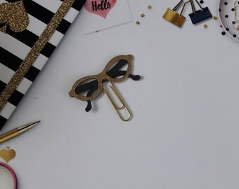 Sunglasses/ Paper Clips/ Planner Clips/Gold/Black/ Glam Planner/ BookMarks/ Gift Item/ Happy Planner/ Hand Crafted-MarketandHigh.Etsy.Com