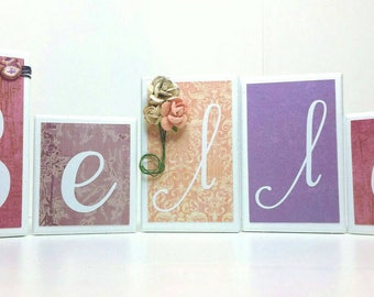 Name Blocks, Photo Prop, Shower Gift, Baby, Baby Girl, Pink and Purple