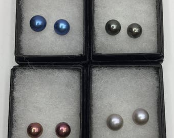 Sterling Silver and freshwater cultured pearl stud earrings