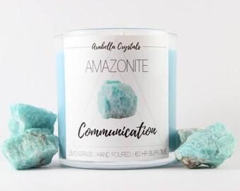 Amazonite Crystal Candle - Communication - Lemongrass Soy Candle- Spiritual Gift