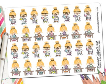 Science Planner Stickers Science Stickers Female Scientist Microscopes Chemistry Sticker Chemistry Gift Science Gift Mad Scientist Girl ECLP