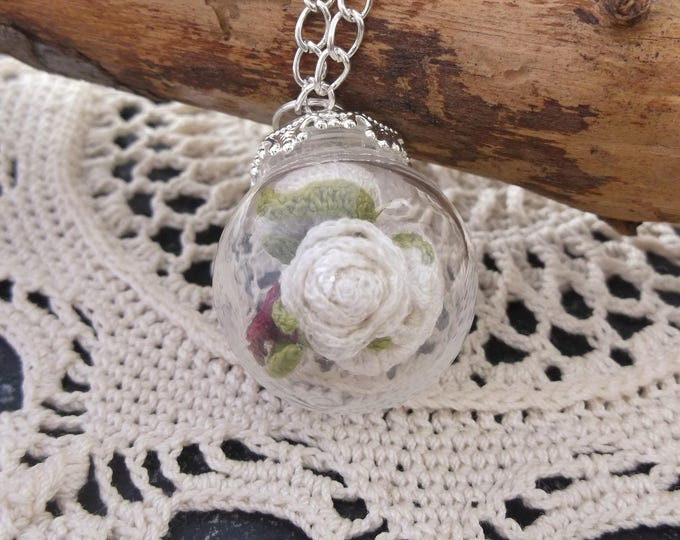 Featured listing image: Crochet White Rose Necklace