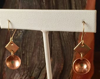 Brass and Copper Bowl Earrings