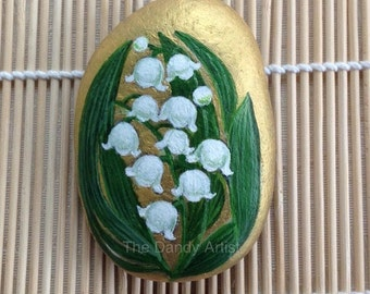 Lily of the valley hand painted friendship pebble.