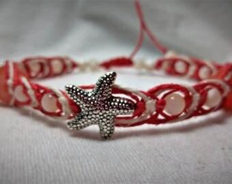 Starfish and Pearls Herringbone Weave Coral Hemp Bracelet