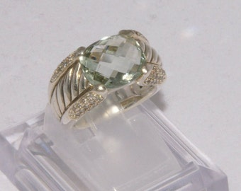 Vintage David Yurman Prasiolite and Diamond Ring / Size 6