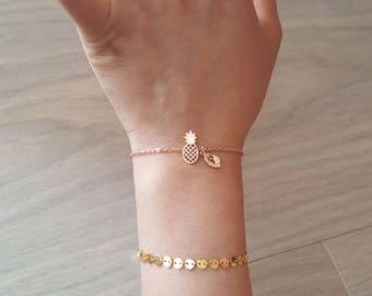 Delicate Petite Pineapple Bracelets,Delicate pineapple Bracelet, Initial coin bracelet,Rose gold bracelet,Layering Bracelet ,Bridesmaid Gift