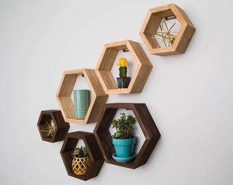 Set of 3 Hexagon Shelves