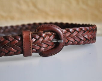 Vintage brown woven belt, Esprit leather belt, boho braided belt, high waist belt