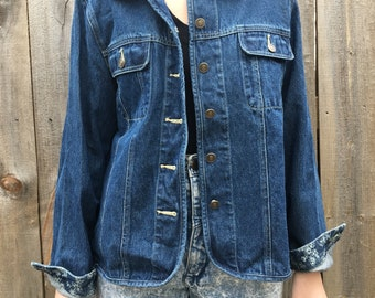100% Cotton Denim Jacket with Floral Detailing