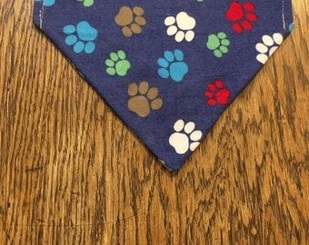 "Homemade ""Pawsome Pawprints"" dog bandana"