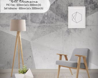 Geometric Concrete Texture Wallpaper, Printed, Wall Decor, Removable