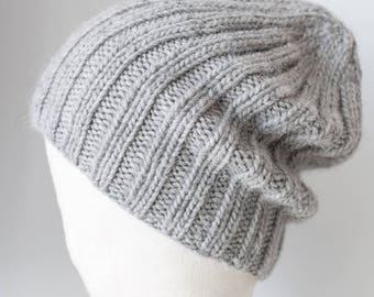 Grey Merino Alpaca Beanie, Slouchy Beanie, Slouchy Boyfriend Beanie, Hand Knitted Slouchy Beanie, Winter Hat, Gift Idea