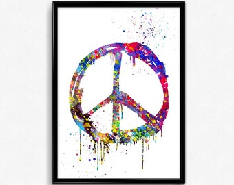 Peace Sign, Hippie Symbol, Colorful Watercolor, Poster, Room Decor, gift, print, wall art (167)