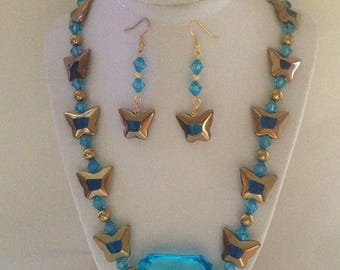 Aqua Vintage Butterfly Necklace Earring Necklace Set