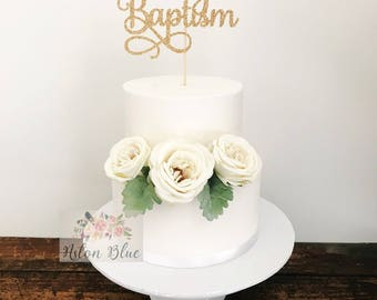 Custom Baptism Cake Topper- Baby Christening/First Communion/Naming Topper/Christening/Cross Topper/Christening Cake/God Bless