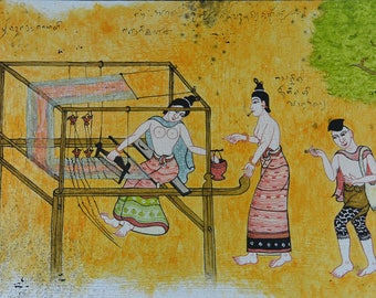 "Painting on canvas - ""Loom"" - Traditional Thai painting canvas"