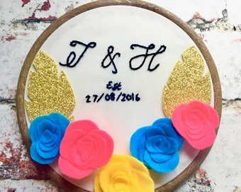 Personalised Wedding Embroidery Hoop, Wood Embroidery Hoop, Happily Ever After, Better Off Wed, She Said Yes, Wedding Gift, Anniversary Gift