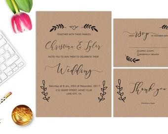 Rustic Wedding Invitation Printable Wedding Invitations Kraft Wedding Invitation Wedding Invites Suite Digital Krafted Invitation Set