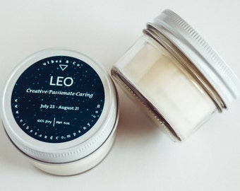 Leo Zodiac Scented Candle ,4oz. Soy Candle, Horoscope Candle, Leo Birthday Gift, Personalized Candle, Leo Birthday Candle, Zodiac Candle