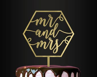 Personalized Cake Topper, Wedding Cake Topper, Mr and Mrs Cake Topper, Geometric Cake Topper, Cake Topper, Mr and Mrs, Geometric, Cake Decor