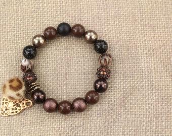 Panther Print, Brown, Black & Gold Charm Bead Bracelet