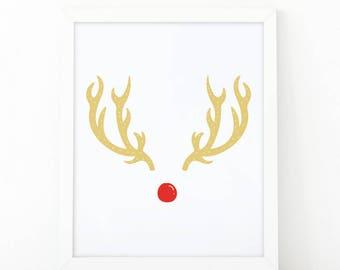 Rudolph print, Deer antlers, reindeer print, Christmas print, Christmas antlers poster, christmas printable, deer print, Chritsmas wall art