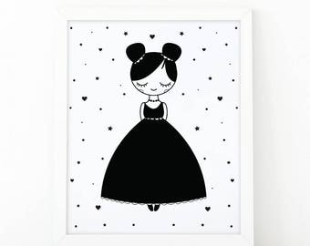Little girl, nursery printable, girl room decor, nursery printable, playroom decor, nursery wall art, Digital print, scandinavian print