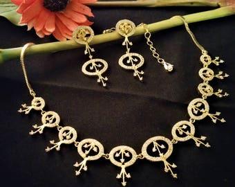 Simple and Elegant Bridal Necklace Set-American Diamond/Cubic Zirconia-Bridesmaid-Bridal Jewellery-