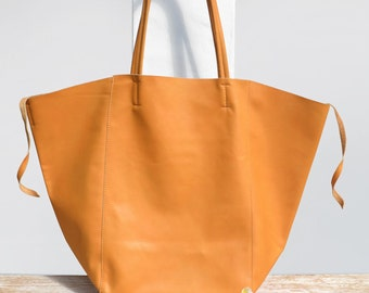 "Large tote bag ""KEMBOJA"" mustard yellow leather bag"