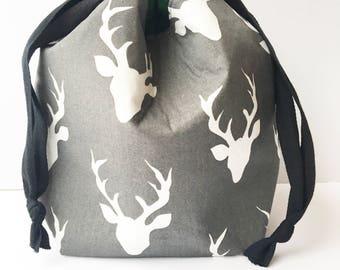 Small Drawstring Bag, Sock Sack, Deer Drawstring Bag, Winter Pouch, Sock Knitting Bag, Deer Knitting Bag, Small Knitting Bag, Small Pouch