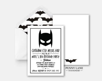 Batman Birthday Invite, Batman Birthday Invitation, Marvel Birthday Invite, Marvel Birthday Invitation, Superhero Birthday Invites, Batman