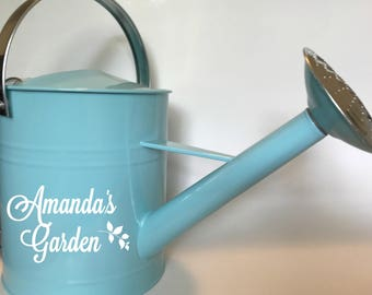 Personalized galvanized watering can
