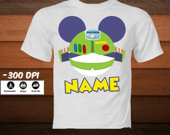 Buzz Lightyear Toy Story Birthday Shirt-Mickey Head Buzz Character Iron on Transfer Shirt-Personalized Toy Story iron on-DIGITAL DOWNLOAD