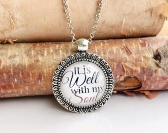 It is Well With My Soul Jewelry, Christian Jewelry for Women, Necklaces With Quotes, Inspirational Necklace, Easter Gift Necklace