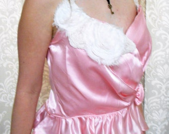 Pink Corset, Pink Steampunk corset, Vintage Inspired Satin Corset, Pink Satin Corset