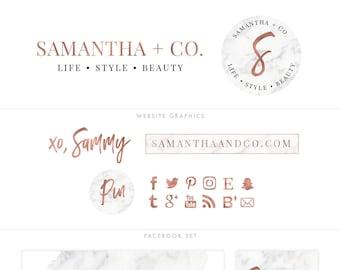 PREMIUM Blog Brand Design | Marble Logo Package | Rose Gold Branding Package | Blog Logos | Marble Brand Design