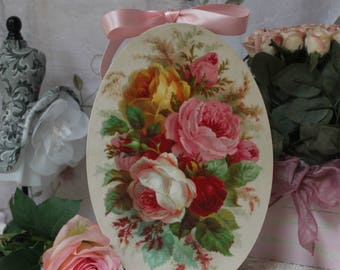"Garden Roses..."" Vintage Shabby Chic Country Cottage style Wall Decor. Sign"