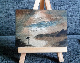 ACEO Original Watercolor Painting Sailing Boat and Clouds Home Decor Fine Art Small Painting 3.5 x 2.5 in.