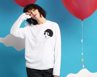 Long Sleeved White  T-shirt  - Space Lady