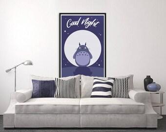 11 x 17 Good Night - Totoro Fanart INSTANT PRINT