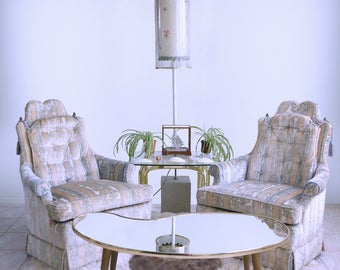 hollywood regency ARISTOCRATIC finial rope tassle DOROTHY DRAPER tuffted chairs by Highland House
